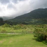een van de beroemde eeuwige regenbogen van Boquete (goed kijken)
